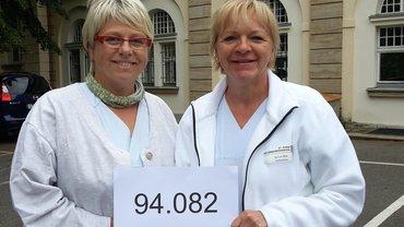 Vor dem Krankenhaus St. Georg in Leipzig machten die Beschäftigten für eine gesetzliche Personalbemessung stark.
