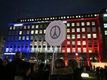 Friedenskundgebung auf dem Domplatz in der Hamburger Innenstadt