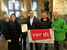 Beschäftigtendelegation im Rathaus