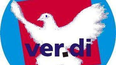 Ver.di-Logo mit Friedenstaube