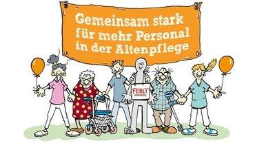 """Motiv """"Gemeinsam stark für mehr Personal in der Altenpflege"""""""