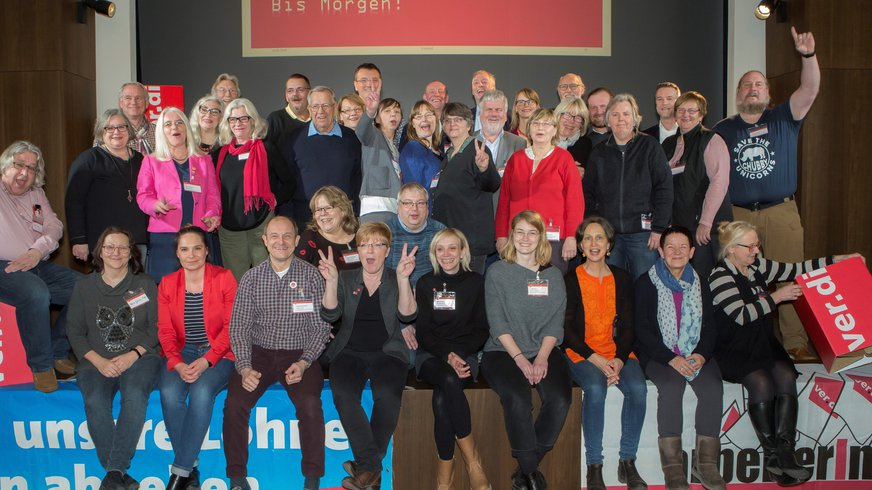 Gruppenbild des Landesbezieksvorstandes von ver.di Hamburg