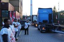 Kollegen vom Medrepair im Hamburger Hafen im Ausstand.