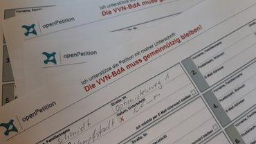 Die Petition für den Erhalt der Gemeinnützigkeit der VVN-BdA.