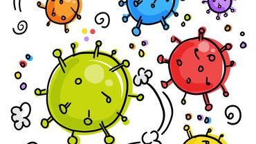 Corona-Viren schwirren durch die Luft (Zeichnung)