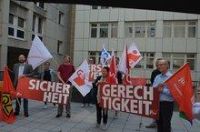 Die Pressekonferenz der DGB-Gewerkschaften in Hamburg.