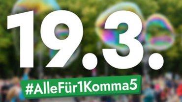 """Bild mit der Aufschrift: 19.3. - #AlleFür1Komma5, mit dem die Bewegung """"Fridays for Future für den Aktionstag am 19.3. mobilisiert."""