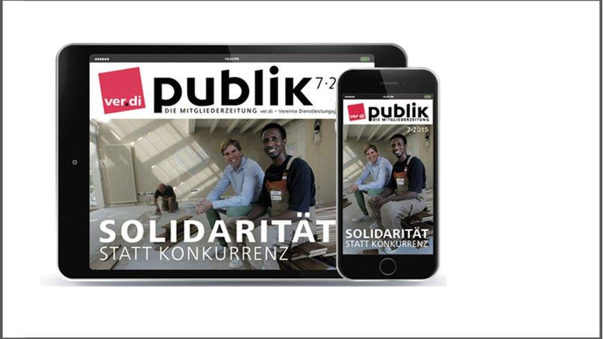 """Screenshot eines Titelblattes der ver.di-Mitgliederzeitung """"Publik""""."""