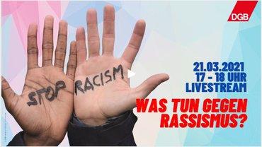 """Logo der DGB-Veranstaltung """"Was tun gegen Rassismus"""""""
