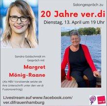 Einladung zum Salongespräch am 13.4. Zu sehen sind Fotos von Sandra Goldschmidt und Margret Mönig-Raane.